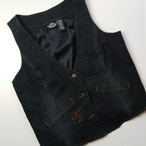 Harley Davidson Black Denim Womens Vest Large
